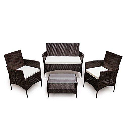 SVITA Poly rotan zitgroep Eetgroep Set kleurkeuze - Cube Sofa-set tuinmeubelen Lounge kleurkeuze (4-delige set, bruin)