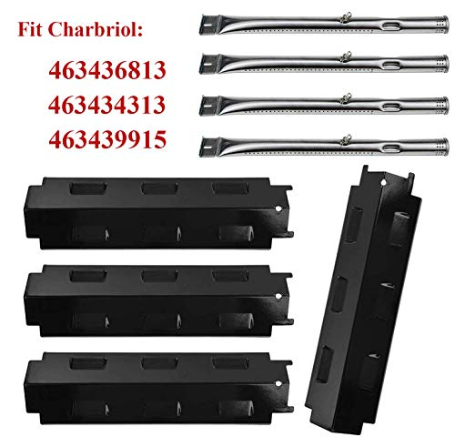 BBQ-Element Gas Grill Heat Shield Plate Tent Burner Cover and Burner Pipe Tube Replacement Parts Kit for Charbroil 463434313, 463439915, 463335014, 463436813, 463322613 Gas Grill Models Grill Heat Plates