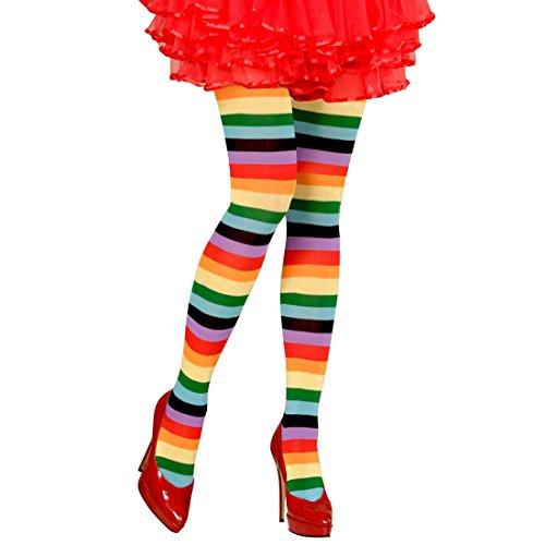 Amakando Regenbogen Strumpfhose Bunte Ringelstrumpfhose bunt Pantyhose Damenstrümpfe Geringelte Damenstrumpfhose Strumphosen Feinstrumpfhosen Nylon Damen Strümpfe