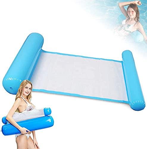 Parti Luftmatratze Pool Erwachsene 4 In 1 Aufblasbares Schwimmbett Pool Zubehör, Wasser Hängematte Pool Wassermatratze für Sessel Matratzen Sitz Schwimmmatte(Blau)
