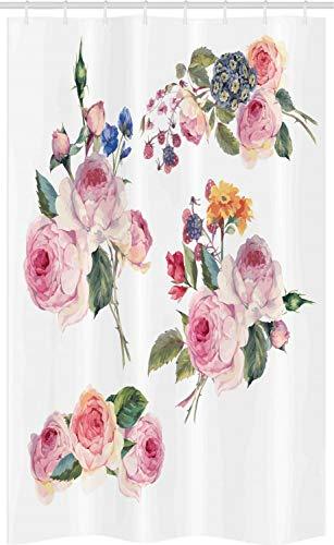 ABAKUHAUS Rose Schmaler Duschvorhang, Englisch Wild Roses Bouquet, Badezimmer Deko Set aus Stoff mit Haken, 120 x 180 cm, Blasses Violett