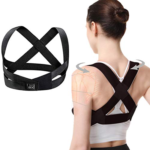 BXStyle Ergonomic Design Invisible Back Posture Corrector for Men and Women Back Brace Clavicle Straightener for Spinal Support,Pain Relief for Neck,Back,Shoulders. (Black, M:29.9-36.6in)