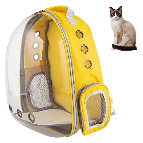 XZKING Cat Carry Backpack, Ventilate Transparent Space Capsule Backpack,Cat Bubble Backpack (Yellow)