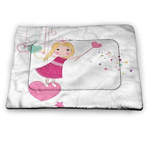 "prunushome Princess Dog Beds Crate Pad Mat Little Girl Heart Shapes Insulated Self-Warming Pet Bed Mat (18""x12"")"
