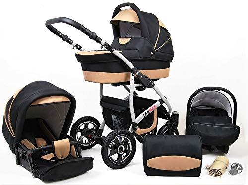 Lux4Kids Kinderwagen 3 in 1 Kombi Komplettset mit Autositz Isofix 2in1 Babywanne Babyschale Buggy Buggy Baby Larmax Schwarz & Beige 3in1 mit Babyschale