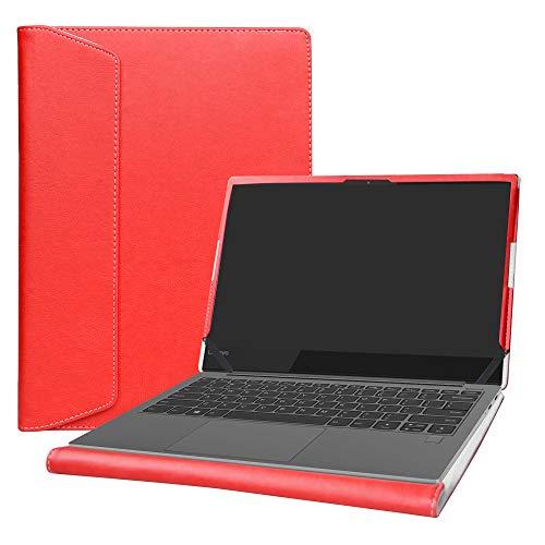 Alapmk Diseñado Especialmente La Funda Protectora de Cuero de PU para 13.3' Lenovo Yoga S730 Series Ordenador portátil,Rojo