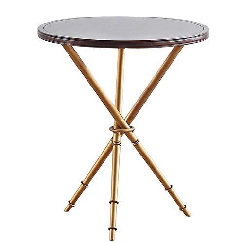 smzzz Home Improvement Furniture Design Runder Couchtisch Beistelltisch Holztischplatte Metall Tischrahmen Dreibeinige Stütze Stabil und Nicht zitternd Modern Home Creative Furniture