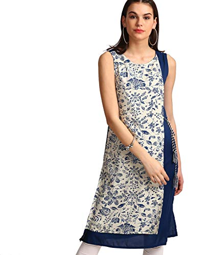 Morpankh by FBB Floral Print Layered Kurta Blue
