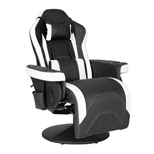 Modern-Depo Massage Video Gaming Recliner Chair Ergonomic High Back Swivel Reclining Chair with Bluetooth Speakers, Cupholder, Headrest, Lumbar Support, Adjustable Backrest and Footrest, Black White