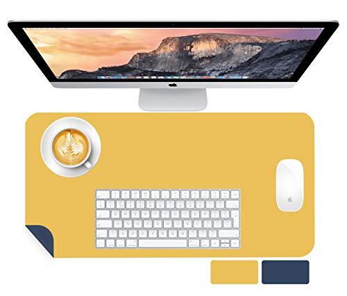 Novaza Tech Bureauonderlegger, bureaumat, PU-leer, tafelonderlegger, laptop, tafelonderlegger, waterdichte bureauonderleggers voor kantoor/thuis, dubbelzijdig (marineblauw/geel, 60 x 35 cm)
