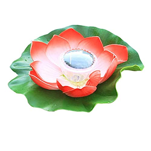 Sraeriot Lámpara Flotante de la Piscina, Luces de Loto con energía Solar Impermeable LED jardín Flor Linterna para jardín Yard Fuente Rojo