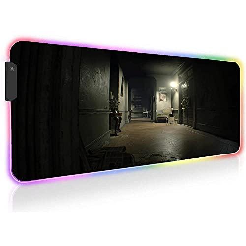 Resident Evil Alfombrillas de ratón Grande RGB LED para Juegos Alfombrilla para Ordenador Alfombrilla de Escritorio para Ordenador con Retroiluminación de 31,5 X 11,8 X 0,16 Pulgadas