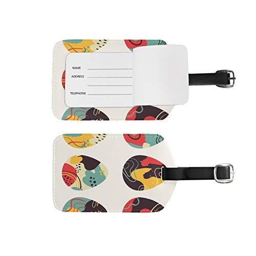 Etiquetas de equipaje, soporte para nombre de dirección, 2 unidades de etiquetas de identificador portátil, bolsa de tarjetas, decoración de equipo de viaje, huevos dibujados a mano para maletas
