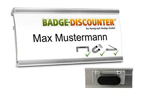 10 Aluminium Namensschilder magnetisch für Kleidung zum Anstecken Komplettset NMSG Silber Alu Namensschild 3 Befestigungen montiert Magnet Clip Nadel Papier Drucketiketten Magnetnamensschild bedrucken