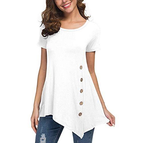 AMUSTER Damen Frauen T Shirts Tops Tunika Tuniken Longshirt Lang Basic Asymetrisch Sommer Casual Locker Oberteile Blusen