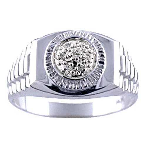 RYLOS Mens Rings 14K White Gold - Diamond Ring Lucky Pinky Ring White Gold - Rolex Style Rings For Men Mens Jewelry Gold Rings
