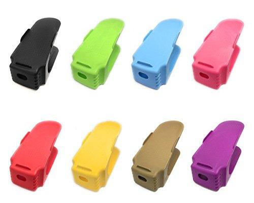 RESPEKT Schuhstapler Ordnungssystem, die ideale platzsparende Schuhaufbewahrung für Damen-, Herren- und Kinderschuhe - Organizer für Ihr Schuhregal in einem Set - 8er Set (bunt)