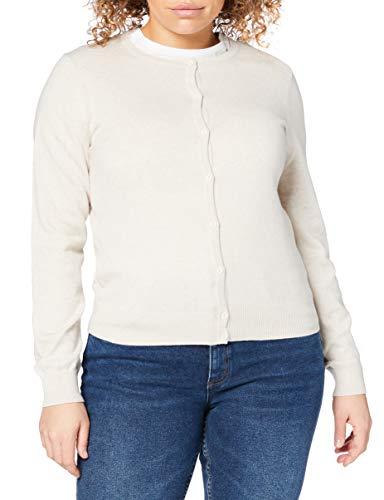 Amazon-Marke: MERAKI Baumwoll-Strickjacke Damen mit Rundhals, Beige (Linen), 42, Label: XL