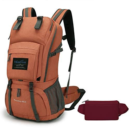 WindTook 40L Damen Rucksack Wanderrucksack Trekkingrucksack Daypack mit Regenschutz, Blau mit Kulturtasche Lila, Geschenk