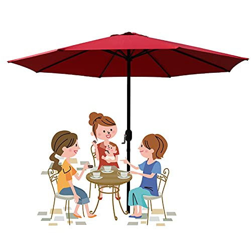 2.5m /8.2ft Patio Sunbrella, Large Outdoor Umbrella, Garden Market Parasol, with Hand Cranks, Sunshade and Waterproof, For Lawn Pool Backyard