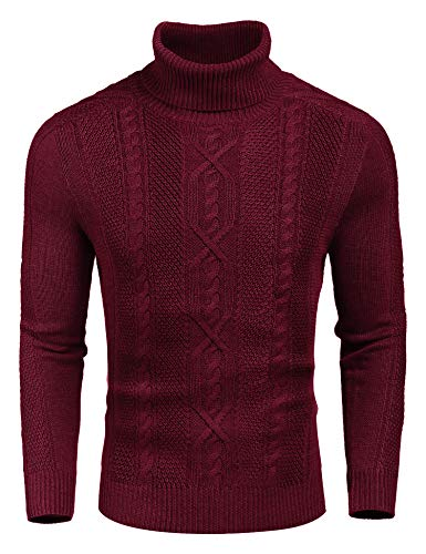 COOFANDY Men's Turtleneck Sweater Casual Slim Fit Tight Neck Sweater with Twist Patterned