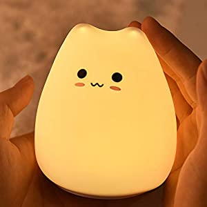ratiomise LED Night Light, Cute/Popular/Smart Cat Silicone Lamp Nursery Night Lights with Warm White and 7-Color Touch Control Night Light for Kids and Baby Bedroom