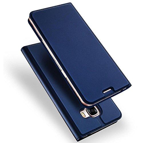 Verco Handyhülle für Galaxy A3 (2017), Premium Handy Flip Cover für Samsung Galaxy A3 Hülle [integr. Magnet] Book Case PU Leder Tasche [A3 A320], Blau