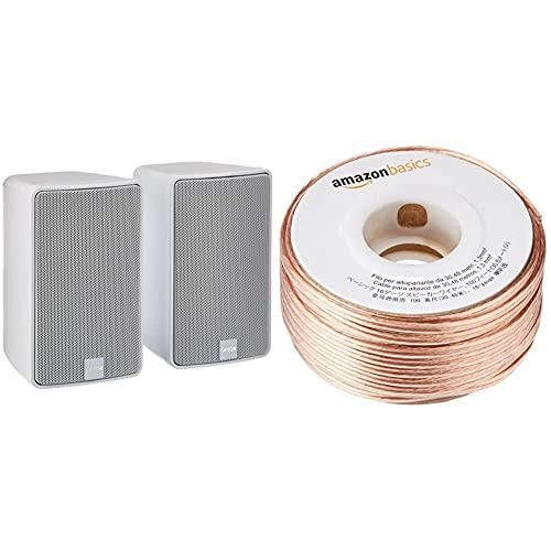 Canton Plus GX.3 Kleinlautsprecher (40/100 Watt) Weiss (Paar) & Amazon Basics 16-Gauge Speaker Wire - 100 Feet