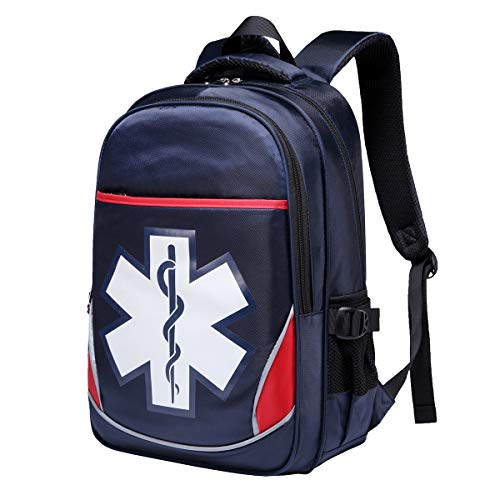 Camoredy First Aid Bag Empty Red Emergency Medical Backpack First Responder Trauma Bag Waterproof Multi-Pocket for Traveling, Field Trips, Camping, Hiking, Scout Troop, Childcare (Blue)