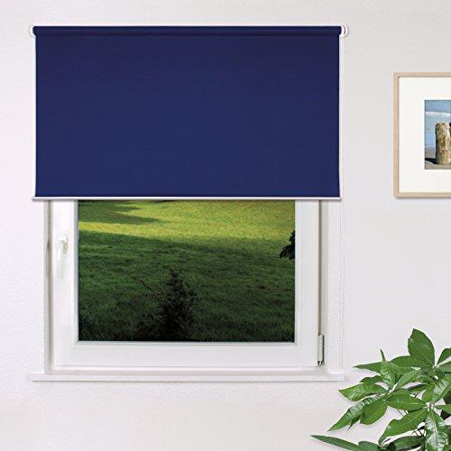 Fensterdecor Fertig Verdunkelungs-Rollo, Sonnenschutz-Rollo zum Abdunkeln von Räumen, Blickschutz-Rollo in Blau, lichtundurchlässig und Blickdicht, 140 x 180 cm