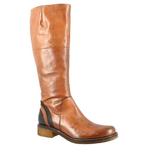 Leonardo Shoes Botas hasta la Rodilla con Punta Redonda Hechas a Mano para Mujer en Piel de Becerro marrón quemada con Cierre Lateral de Cremallera - Tamaño: 40 EU