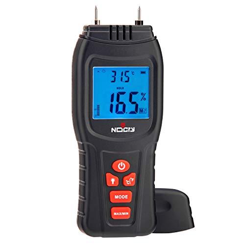 NoCry Digitales Feuchtigkeitsmesser, Wasserdichtigkeitsmesser, Thermometer für Holz und Baumaterialien, Batterie und Ersatzsonden enthalten