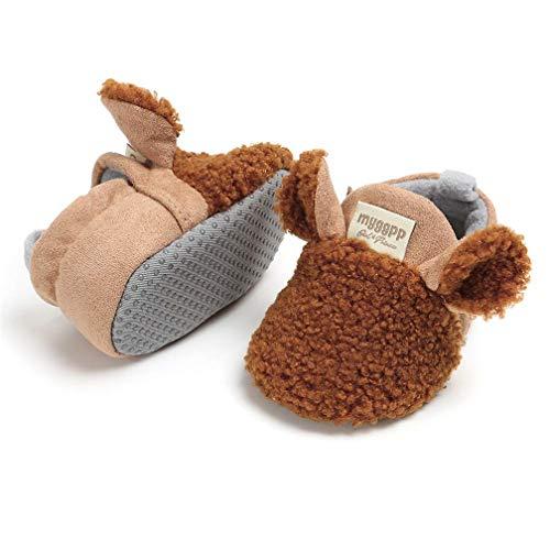 TMEOG Unisex-Baby Neugeborenes Fleece Booties Bio Baumwoll-Futter und rutschfeste Greifer Winterschuhe (12-18 Monate, E_Braun)