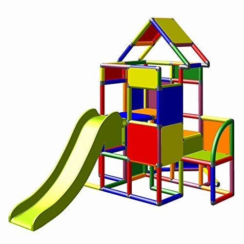 Moveandstic 6013 - großer Spielturm Lisa mit Rutsche und kleinen Anbau (Multicolor 7 Farben)