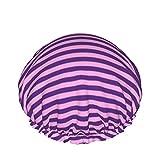 Tapas de ducha de rayas horizontales de uva y fucsia a prueba de agua de doble capa gorras de pelo grandes mujeres bañeras para todo el cabello