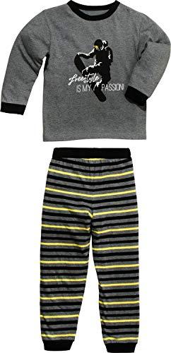 Erwin Müller Kinder-Schlafanzug mit Druckmotiv Single-Jersey grau/schwarz Größe 122/128