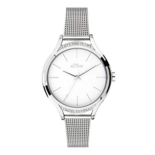 s.Oliver Damen Analog Quarz Uhr mit massives Edelstahl Armband SO-3694-MQ