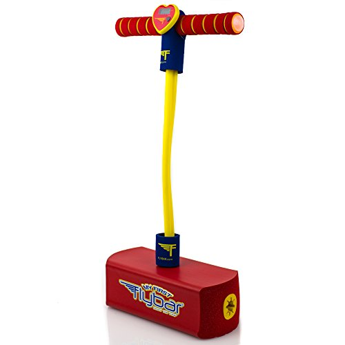 Flybar My First Foam Pogo Jumper for Kids Fun and Safe Pogo Stick for Toddlers, Durable Foam and Bungee Jumper for Ages 3 and up, Supports up to 250lbs (Red LED)