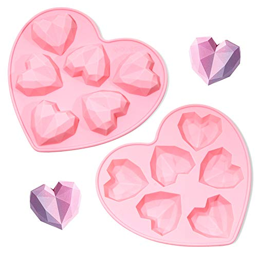 CDJAYHOM Diamond Love Heart Shape Silicone Cake Molds, 2 Packs Baking Mold for Making Chocolate Bomb, Cookie, Jelly, Mousse Dessert- 6 holes Non-stick Easy Release(Pink) (Pink) (Pink)