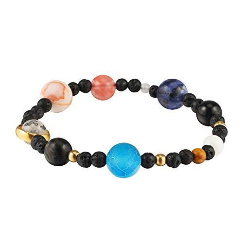 LQKYWNA Frauen-böhmisches acht Planeten-Art-Armband, kosmisches Sonnensystem-Planeten-Naturstein bördelt elastisches Armband