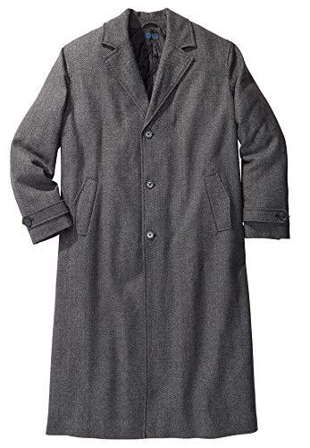 Lavnis Men's Woolen Trench Coat Long Slim Fit Business Outfit Jacket Overcoat Style 2 Black L