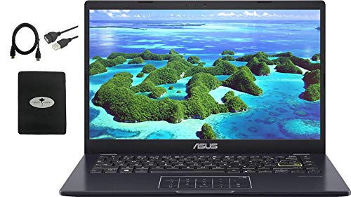 "2021 Newest ASUS 14"" Thin Light Business Student Laptop Computer, Intel Celeron N4020 (up to 2.8GHz), 4GB DDR4 RAM, 128GB eMMC, 12Hours Battery Life, Zoom Meeting, Windows 10, Blue w/GM Accessories"