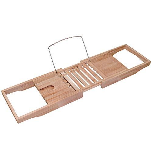 WELLGRO Bambus Badewannenablage - ausziehbar von 70-105 x 22 x 4,5 cm (LxBxH) - Badewannenaufsatz - Wannenbrücke - Badewannenregal