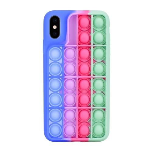 Pop It Fidget Toy Funda iPhone X/XS - Bubble Push Sensory Figwt Toys Fundas Compatible con Apple - Silicona prueba de Golpes Phone Case Stress Relief para Autismo Ansiedad Niños Adulto Relajarse
