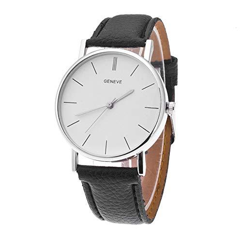 Puwind Reloj de pulsera analógico de cuarzo para mujer, correa de piel, esfera redonda de cristal, para uso diario, informal, pulsera de joyería, color negro