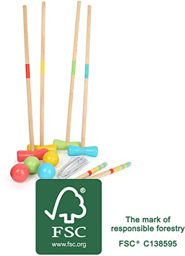 Small Foot 12033 Krocket Active aus Holz, FSC 100%-Zertifiziert, Klassiker für den Garten, für Jede Altersgruppe ab 3 Spielzeug, Mehrfarbig