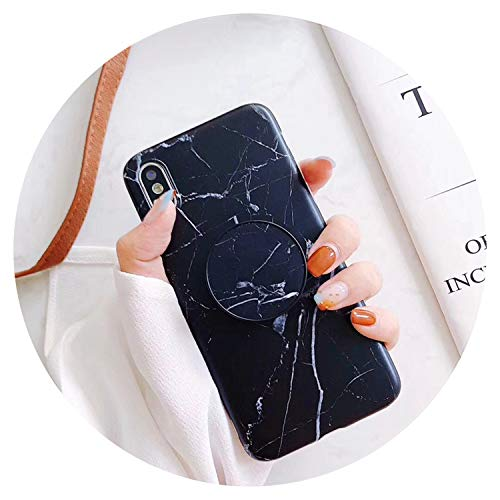 Funda de mármol para iPhone 8, 7 Plus X 6 S Plus Funda de silicona suave para iPhone 7 contraportada, color negro, para iPhone 6 y 6S