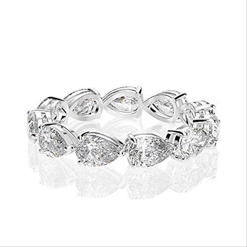 IWINO 925 massieve sterling zilveren peer gemaakt van moissanite edelsteen verlovingsring sets trouwring fijne sieraden