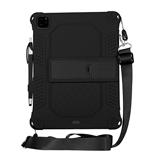 iPad Pro 11 (2020) Sleeve - 11 Inch - Silicone Back Cover - With Shoulder Strap & Stylus Pen - Black