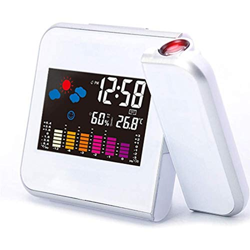 Muyuuu Projektionswecker Bedside Digitaler Projektionswecker Wetterstation mit Temperaturthermometer Luftfeuchtigkeitshygrometer/Bedside Wake Up Projektoruhr (Color : White)